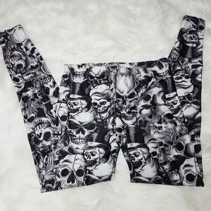 Skull leggings Creepy Spooky Punk Goth Skeleton S